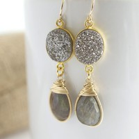 Labradorite and Druzy Earrings