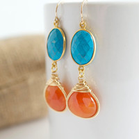 Chalcedony Dangle Earrings, Turquoise Dangle Earrings, Orange Earrings, Bezel Set Earrings Wire Wrapped Earrings