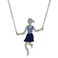 Jump rope player - long silver necklace - navy blue stripes