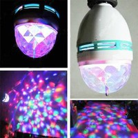 DUSIEC Mini RGB Full Color Rotating LED Lamp Stage Light Torch 3W with E27 Base For Disco DJ Stage Party KTV Bars Club