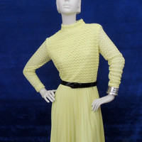 60s Neon Mod Dress Vintage, SALE, long, wide pleated skirt, sheer lace top