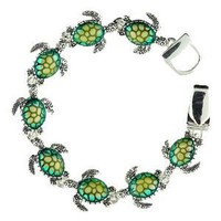 Amazon.com: Silvertone Green Turtle Charm Magnetic Clasp Bracelet Fashion Jewelry: Jewelry