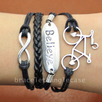 Infinity bracelet ,silver Believe & bicycle charm bracelet ,leather and cotton ropes cuff bracelet ,silver infinity bracelet  d-326