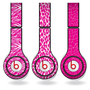 Pink Animal Print Set of 3 Headphone Skins for Beats Solo HD Headphones - Removable Vinyl Decal!