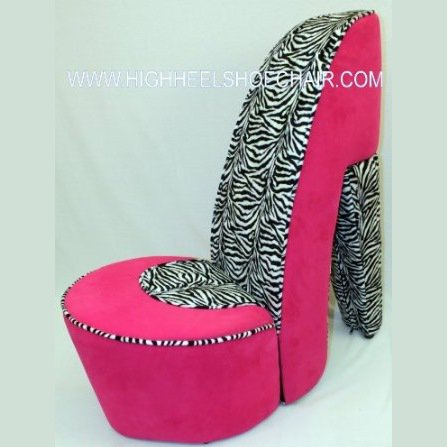 zebra and pink high heel shoe chair from home