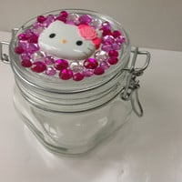 Hello Kitty Pink Rhinestone Glass Jar
