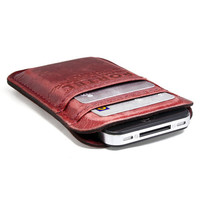 RETROMODERN aged leather iPhone 4 pocket - - CLARET