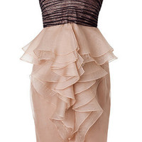 STYLEBOP.com | Nude/NavyLaceDetailRuffledStraplessDressbyJASONWU | the latest trends from the capitals of the world