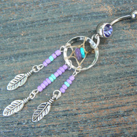 purple and turquoise dreamcatcher belly ring turquoise and amethyst in native american tribal boho hippie belly dancer and hipster style