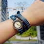Blue Leather Belt Rivet Wrap Watch