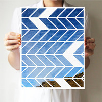 "Chevron print 11""x14"" - Art print - Geometric - Wall decor - Sky blue - Green"
