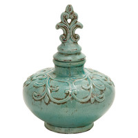 "One Kings Lane - A Hint of Mint - 14"" Aqua Jar"
