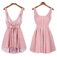 Wave Point Backless Bowknot Dress