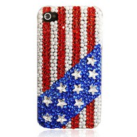Handmade Stars And Stripes Rhinestone iPhone 4 / 4S Case