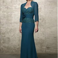 [148.42] Elegant Chiffon & Alencon Lace full length Sweetheart Neckline Mother of the Bride Dress With Jacket - Dressilyme.com