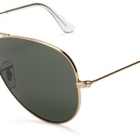 Ray-Ban RB3025 Aviator Large Metal Sunglasses, Arista Gold Frame/G-15 Classic Green Lenses,55 mm