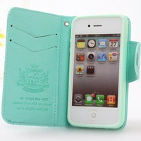 Leather Mint Green Wallet Case for iPhone