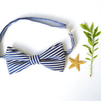 Mens bow tie freestyle groom wedding hipster classic retro necktie chic handmade gift for him by Bartek Design - dark blue white stripes