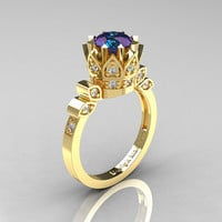 Classic Armenian 14K Yellow Gold 1.0 Alexandrite Diamond Bridal Solitaire Ring R405-14KYGDAL
