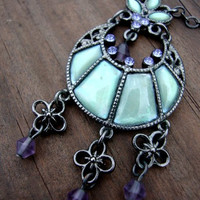 Mermaid Sea Aqua Blue and Lavender 90s Grunge Goth Necklace