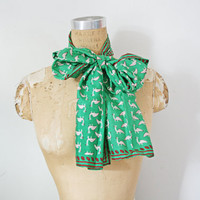 vintage 50s Emerald Green Little Birdies Extra Long Silk Neck Scarf