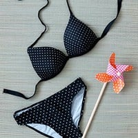 Dirty Little Secret Polka Dot Bikini (Molded Push Up Bra)