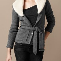 Burberry WOOL AND CASHMERE CARDIGAN - Knitwear
