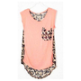 Hi,Showme  Leopard Patchwork Sleeveless Chiffon Blouse