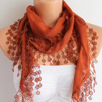 SALE Brick Color Cotton Scarf with Lace