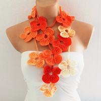 Flower Scarf Lariat Scarf White Yellow Orange