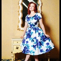 Dee Dee Dress in Blue and Violet Floral from Pinup Couture | Pinup Girl Clothing