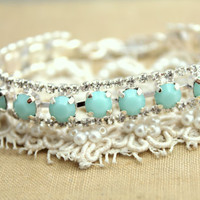 Mint Silver crystal bracelet  - Silver plated Swarovski Crystal bracelet.