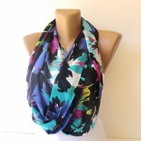 neon colorful infinity scarf , trendscarf, girly girl , spring summer chiffon scarf , womens fashion loop scarf
