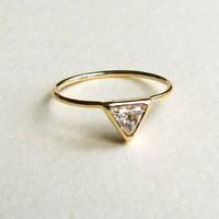 Trillion Diamond Ring - Diamond Engagement Ring - 18k Solid Gold