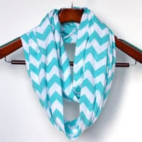 Soft Tiffany Blue Chevron Scarf, Soft  Jersey Knit Scarf, Mother's Day Gift - Ready to Ship