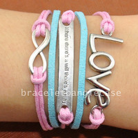 Infinity bracelet ,silver love charm bracelet ,leather & cotton ropes cuff bracelet ,silver infinity wrist bracelet for gifts  d-327