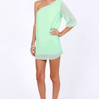 C&#x27;mon Get Happy One Shoulder Ice Mint Dress