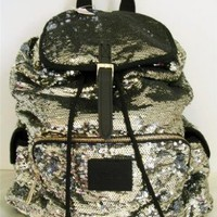 Victorias Secret Pink Bling Silver Gold Flip Sequin Backpack: Sports & Outdoors
