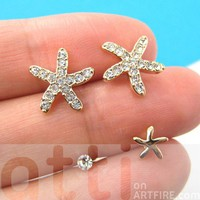 Small Starfish Star Animal Stud Earring 4 Piece Set with Rhinestones