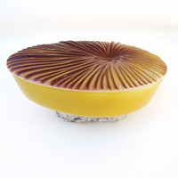 Mustard Yellow Ceramic Box with Lid Mid Century Modern Dresser Box Tear Drop Covered Dish