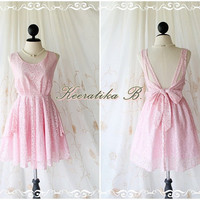 A Party Dress - Sweet Pink Roses Lace Backless Deep Back Dress Prom Party Wedding Bridesmaid Night Dinner Homecoming Dress Bow Tie Back