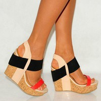 I Love Cute Shoes Summer coral black cork elastic wedges