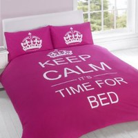FULL CERISE PINK TEENAGER KEEP CALM ITS TIME FOR BED COTTON REVERSIBLE COMFORTER COVER:Amazon:Home & Kitchen