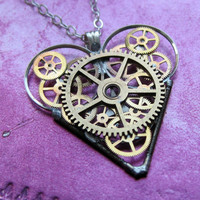 "Mechanical Heart Necklace ""Magic"" Clockwork Gears Heart Steampunk Necklace Clockwork Love Sculpture by A Mechanical Mind Mother's Day"