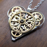 "Mechanical Heart Necklace ""Muse"" Clockwork Gears Heart Steampunk Necklace Clockwork Love Sculpture by A Mechanical Mind Mother's Day"