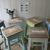 Kitchen stools hand painted to order by Rustic Coast