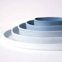 THE SET of 5 porcelain plates, ceramic design dishes, ombre, gradient of blue, square to circle