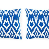One Kings Lane - Updates for Every Room - Set of 2 Ikat 20x20 Pillows, Royal