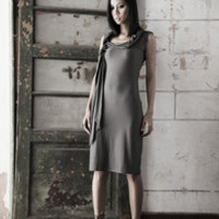 Sleeveless jersey dress, twist and drape collar by JaneClarbour
