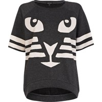 Grey cat print boxy sweatshirt